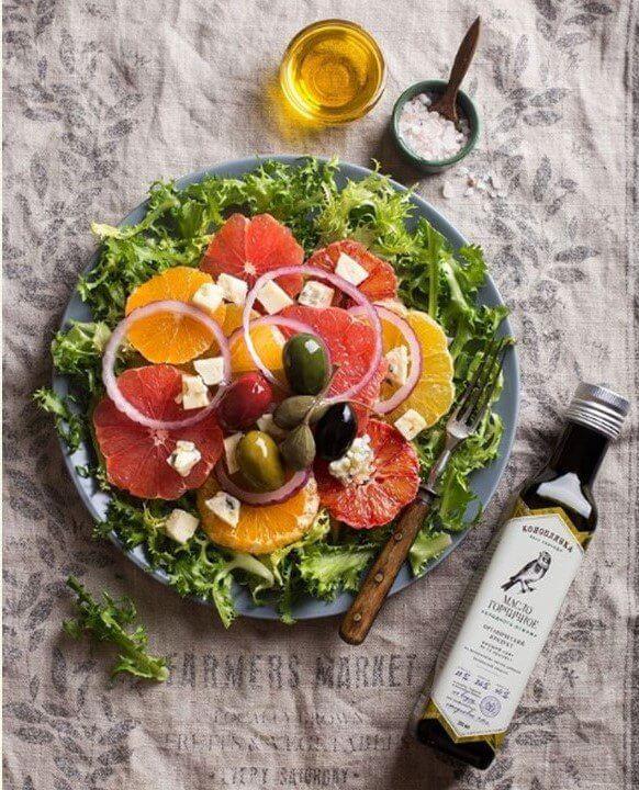 Цитрусовый салат с горчичным маслом