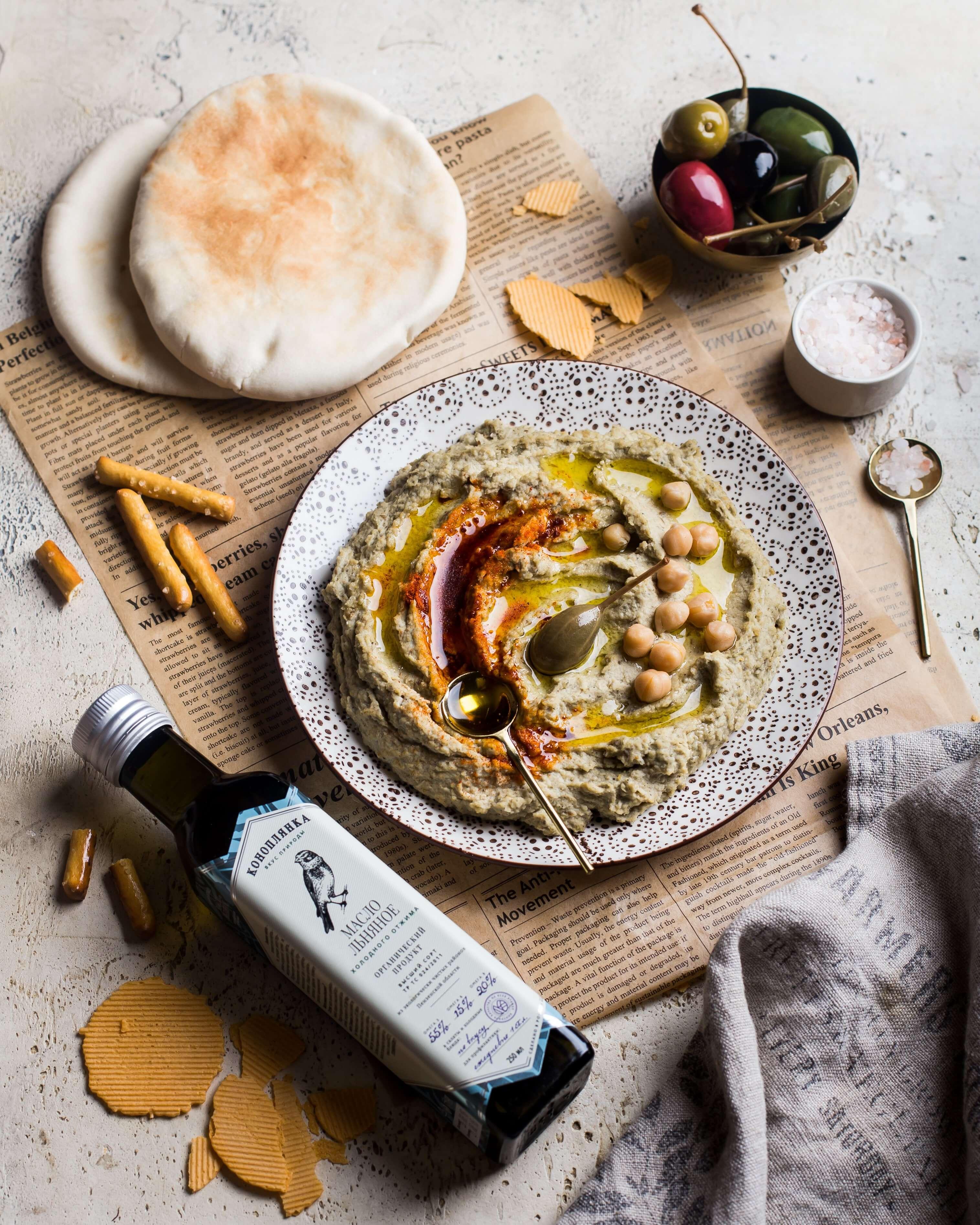Хумус с льняным маслом